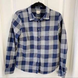 J. Crew Navy and Gray Plaid Button Down Size Small